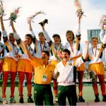 Australian Womens Hockey Team celebrates their Gold Medal in Seoul
